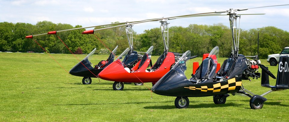 Gyrocopters on display
